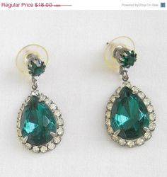 ON SALE Vintage Emerald Green Cut Glass and by MyVintageJewels, $16.20