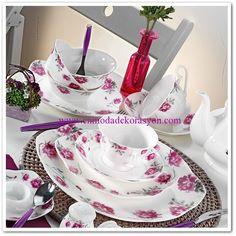 Kütahya Porselen Bone China Kahvaltı Takımı Dinner Plate Sets, Dinner Plates, Kitchenware, Tableware, Dinnerware, Tea Cups, Table Settings, Ceramics, Table Decorations