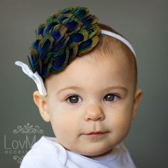 Finding out today if grandbaby #2 is a boy or girl!  ARLENE  Peacock feather headband with bow by LOVMELYBABY on Etsy, $25.00
