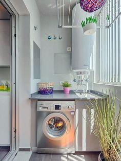 inspiration design small laundry space using narrow space in your home page 11 Small Laundry Space, Tiny Laundry Rooms, Laundry Room Organization, Small Space, Outdoor Laundry Rooms, Drying Room, Laundry Room Inspiration, Apartment Balcony Decorating, Laundry Room Design