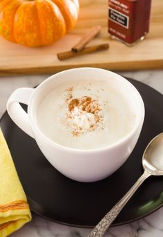 Homemade Pumpkin Spice Latte is made with brown sugar simple syrup and real pumpkin for a latte full of ingredients you can pronounce for a fraction of the price!