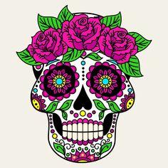 """Tradicionalmente, los tatuajes (tattoo) de calaveras mexicanas han simbolizado la muerte con una """"M"""" mayúscula, ¡pero no de una manera siniestra o negativa! Si hay un hecho innegable en este planeta, es que ningún ser humano escapa de la Parca, por rico o famoso que sea.! Dibujos Sugar Skull, Calaveras Mexicanas Tattoo, Caveira Mexicana Tattoo, Sticker Transparent, Sugar Skull Artwork, Colorful Skulls, Sugar Skull Tattoos, Candy Skulls, Sugar Skulls"""