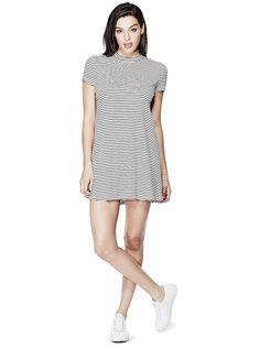 Dana Short-Sleeve Striped Dress | GUESS.com