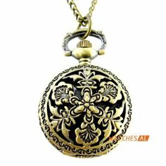 NEW Bronze Retro Carving Flower Openwork Cover Quartz Pocket Watch + Chain by new brand. $4.99. ItemnoNBW0PP7150 GenderUnisex MovementQuartz Movement Case Size27*36mm Case Thickness13mm BezelBronze alloy bezel  DialWhite dial with Arabic numerals hour marking Case BackBronze alloy case back with flower pattern Weight26g Water resistantDaily water resistant, please don't put it in water Length44(Chain length: elongation 78cm, fold 39cm) cm