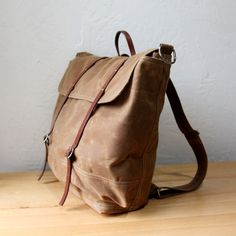 The Rucksack // Backpack  in Saddle Brown Waxed Canvas and Leather. $198.00, via Etsy.
