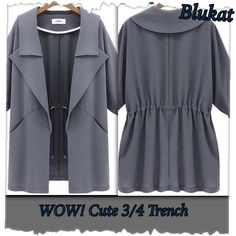 Wow! Cute Trench! Grey, Khaki, or Navy Cute 3/4 Trench with double lapels, trim at end of sleeves, & drawstring inside jacket @ the back. Drawstring inside can make a scrunch look @ waist. Material is heavy cotton! So cute! Have grey & khaki in size large & navy/medium. Each jacket is $38.00 Cycle Boutique Jackets & Coats