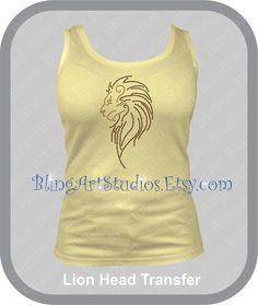 Rhinestone Transfer, Lion Rhinestone Transfer, Lion Head Transfer, Animal Lover, Cat, SImba, Rhinestone Iron On Design, Heat Transfer #488 by BlingArtStudios on Etsy
