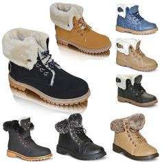 Ladies Womens Faux Grip Sole Winter Warm Fur Ankle Boots Shoes Trainers