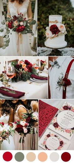 red,dark red and peach lush floral wedding colors