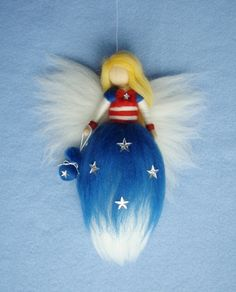 Stars and Stripes FAIRY needle felted wool doll fee soft sculpture WALDORF inspired