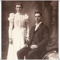 "A young couple pose for their wedding portrait in Mankato, Minnesota. The photographer is the Snow Art Gallery. The reverse of the photograph has an inscription that states ""Mrs Fred Drury"". Presumably, Mrs Drury is the woman seen in this image. Wedding Couples, Wedding Bride, Wedding Day, Wedding Dresses, Bridal Gowns, Vintage Wedding Photos, Vintage Photos, Vintage Weddings, Vintage Couples"
