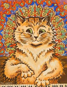 CAT PLAYING A PIANO IN FRONT OF A PSYCHEDELIC BACKGROUND  By Louis Wain
