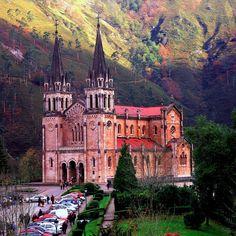 Covadonga Basilica, built with pinkish limestone