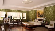 Spacious Green White Brown Bedroom Design With Painting And Hardwood Floor