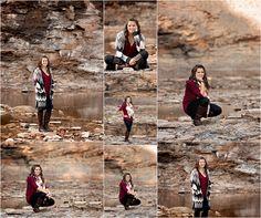 Senior, girl, class of 2016, outdoors, park, river, quarry, rock, argyle, burgundy, long hair, brunette, scarf, photos, photographer, photography