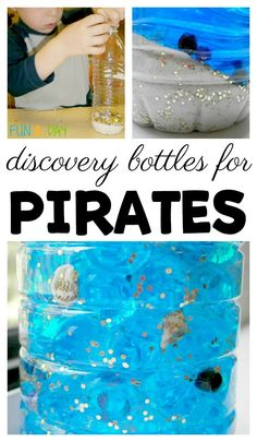 Make some sunken treasure discovery bottles with the kids during summer camp or as part of a pirate theme. Here are two different ways for making the pirate-themed discovery bottles with kids. Preschool Pirate Theme, Pirate Activities, Activities For Adults, Creative Activities, Sensory Activities, Infant Activities, Pirate Games For Kids, Sensory Rooms, Sensory Play