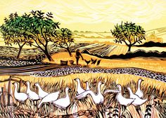 'Geese' By Printmaker Rob Barnes. Blank Art Cards By Green Pebble. www.greenpebble.co.uk