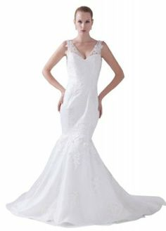 GEORGE BRIDE Sexy V-neck Mermaid Tulle Appliques Wedding Dress