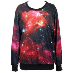 Pandolah Neon Galaxy Cosmic Colorful Patterns Print Sweatshirt... ($17) ❤ liked on Polyvore featuring tops, hoodies, sweatshirts, sweaters, shirts, sweatshirt, long sleeve tops, print sweatshirt, galaxy shirt and red long sleeve shirt