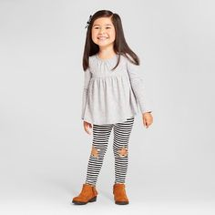 Toddler Girls' Peplum Top and Star Leggings Outfit Cat & Jack™…