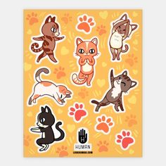 Yoga Cat Stickers | Stickers, Sticker Sheets and Vinyl Stickers | HUMAN