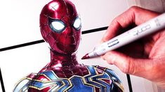 Iron Spider Suit, Copic Ciao Marker, Spiderman Drawing, Stealth Suit, Bristol Board, Step By Step Drawing, Art Store, To Youtube, New Art