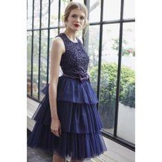 robe bustier enchanteresse en tulle bleu marine naf naf. Black Bedroom Furniture Sets. Home Design Ideas