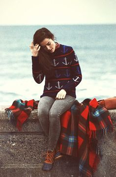 Anchor sweater over a button down and LL Bean boots, from ...