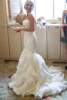 Organza Mermaid Wedding Dresses, 2017 Long Custom Wedding Gowns, Affordable Bridal Dresses, 17110