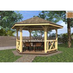 Wooden Summer House, Diy Furniture, Gazebo, Outdoor Structures, Garden Ideas, Log Homes, Kiosk, Pavilion, Landscaping Ideas