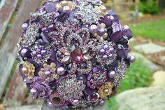 Purple #brooch #wedding #bouquet