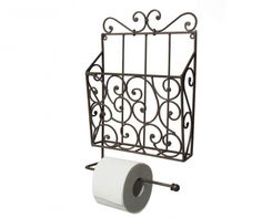Wall Mounted Toilet Roll Holder with Magazine Rack Ambiente Haus Colour: Brown Paper Towel Rolls, Paper Towel Holder, Towel Holders, Toilet Roll Holder Magazine Rack, Best Paper Towels, Newspaper Paper, Kitchen Roll Holder, Cafe Wall, Wall Mounted Toilet