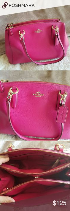 "Coach Crossgrain Medium Christie Carryall This Coach bag was used for one summer, has minimal wear, and is both beautiful and practical with tons of compartments!  COACH Genuine Crossgrain Leather  Double large zipper compartments with magnetic snap closure  1 Zip pocket & Multi-function slip pockets  Fabric Lining  Polished Gold-tone Hardware  Double leather Handles with 8"" drop  Coach leather hang-tag  Detachable, adjustable Longer strap with 22"" drop for shoulder or cross-body wear  12""…"