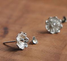 Handmade Sterling Silver Flower Earring, 925 Silver Sakura Ear Studs, Teenage, Valentine, Bridemaid, Bridal, Wedding, Gift #handmade #gifts