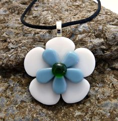 Fused Glass Pendant, White Flower Necklace, Floral Jewelry, Flower Pendant, 025