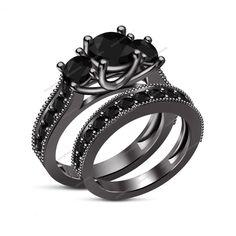 Amazing Round AAA Diamond Surface Prong set Three Stone Wedding Bridal Ring Set…