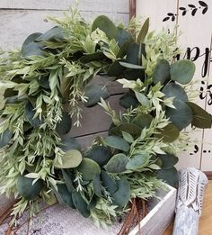 Everyday Front door wreath, Eucalyptus Greenery Wreath - Wreath Great for All Year Round -Everyday Burlap Wreath, Door Wreath Wreaths For Front Door, Door Wreaths, Front Porch, Photo Wreath, Greenery Wreath, Rustic Wreaths, Christmas Wreaths, Christmas Stuff, Christmas Holiday