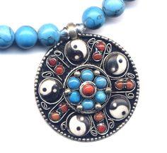 Nepal Mandala Pendant Necklace, Turquoise, Coral and Turquoise Mandala on Magnesite Necklace, Ying Yang Mandala - pinned by pin4etsy.com