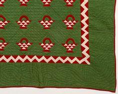 Detail, Baskets Quilt with Zig Zag Border: Circa 1880;Pa., Stella Rubin
