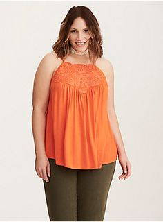 """Countdown to shoulder-baring weather starts now with this top! The bright orange jersey knit on this halter-esque tank is silky-soft and crazy stretchy, with stunning floral embroidery on the high neck lending boho babe appeal. The cutout back rocks strappy details (weird tan lines, but worth it).<div><br></div><div><b>Model is 5'9.5"""", size 1<br></b><div><ul><li style=""""list-style-position: inside !important; list-style-type: disc !important"""">Size 1 measures 30 1/2"""" from shoulde"""