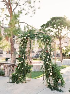 The Ringling Museum is Sarasota's most spectacular setting, so when Kim and Christian conveyed their vision to NK Productions Wedding Planning, they chose to accentuate the courtyard with lush greenery, white blooms, and pops of burgundy blooms. Ceremony Arch, Wedding Ceremony Decorations, Wedding Goals, Wedding Planning, Ringling Museum, Aisle Style, Museum Wedding, Shades Of Green, Floral Wedding
