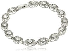 1928 Jewelry Silver-Tone Clear Crystal Filigree Link Bracelet, 7.5' * Continue to the product at the image link.