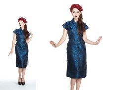Vintage 1950s New Look Royal Blue and Black Brocade von Lulaverse