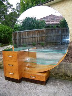 Art Deco, Dressing Table Chest of 4 Drawers Stepped Maple Timber Mirror. This is so crazy-looking it makes me smile... If I could have this in pink, orange, green... or any bright colour... <3