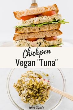 Have you ever tried making Vegan Tuna before? Turns out it's SUPER easy! It tastes delicious as a vegan tuna salad, as a filling for vegan tuna sandwiches, or simply with fresh bread. Read on to follo Vegan Sandwich Recipes, Healthy Sandwiches, Vegan Dinner Recipes, Whole Food Recipes, Vegetarian Recipes, Cooking Recipes, Healthy Recipes, Salad Recipes Vegan, Vegan Tuna Salad Recipe