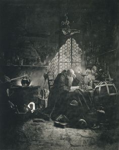 "into-every-thing: "" ""Faust dans son laboratoire (Faust in his laboratory)"" by Frédéric Boissonnas, 1896. """