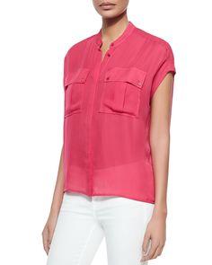 Cap-Sleeve Silk Pocket Blouse