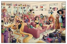 princess dressing room - DeviantArt illustrator Eumenidi gives us a sneak peek into what a Disney princess dressing room would look like. This awesome illustration is quirk...