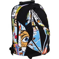 volcom backpack, comic style.