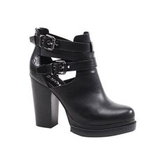 Bronx Shoes Cherry Top 4 Inch Heels Leather Motorcycle Boots (2.750 ARS) ❤ liked on Polyvore featuring shoes, boots, ankle booties, cut-out booties, cut-out ankle boots, platform booties, high heel boots e platform ankle boots